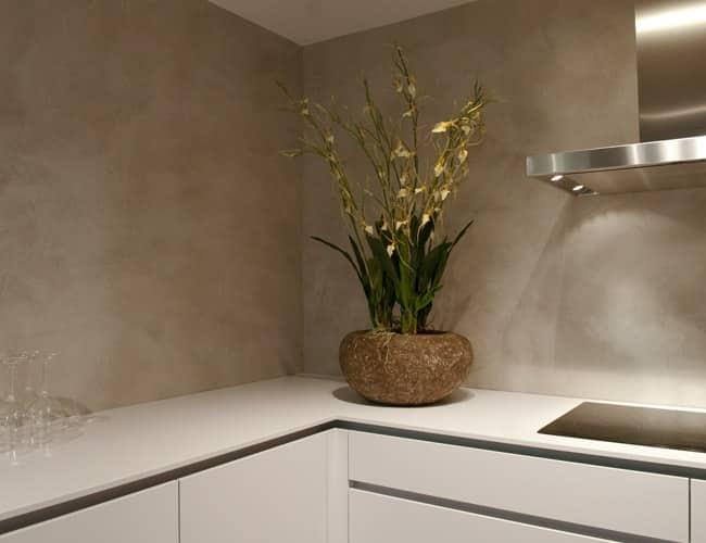 beton cire keuken wand